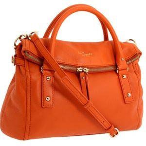 Kate spade leslie orange cobble hi leather satchel